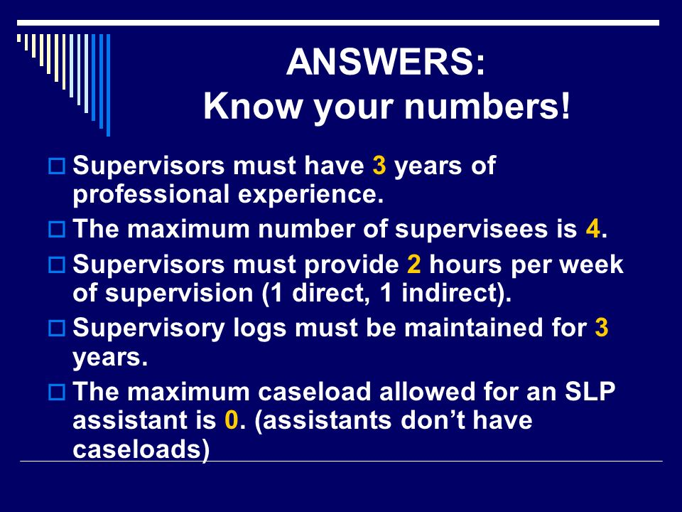 ANSWERS: Know your numbers!
