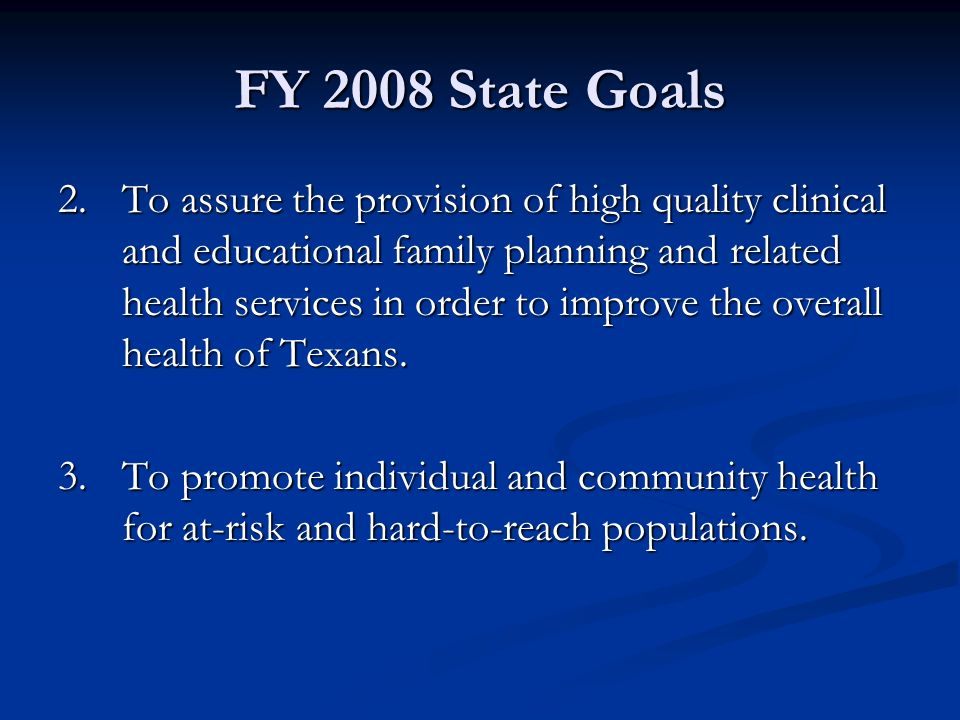 FY 2008 State Goals