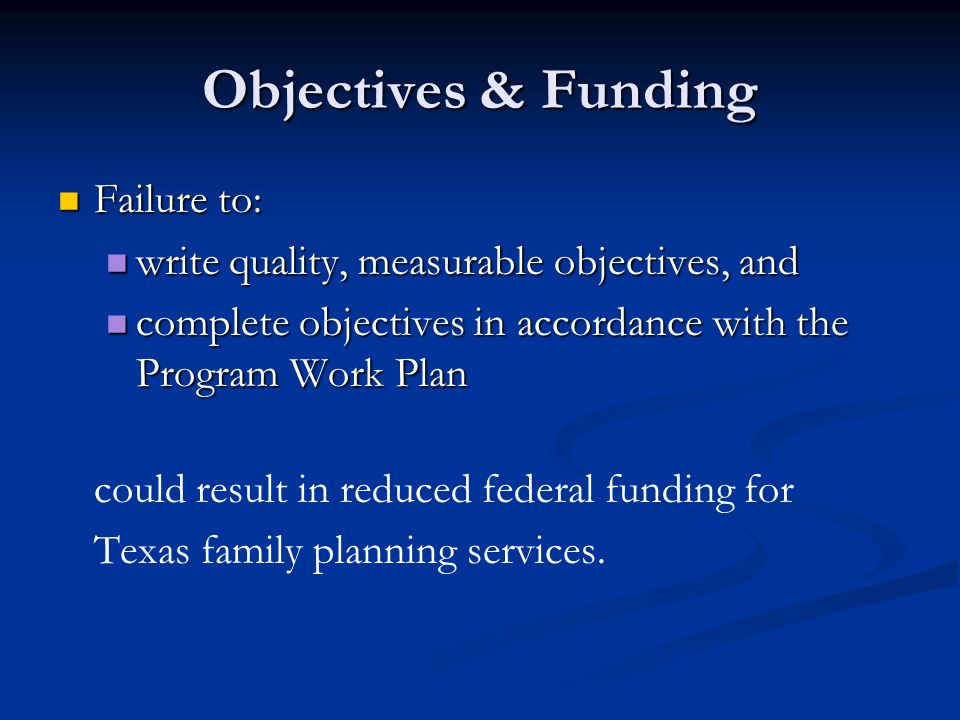 Objectives & Funding Failure to:
