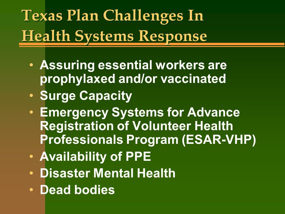 Texas Plan Challenges In Health Systems Response