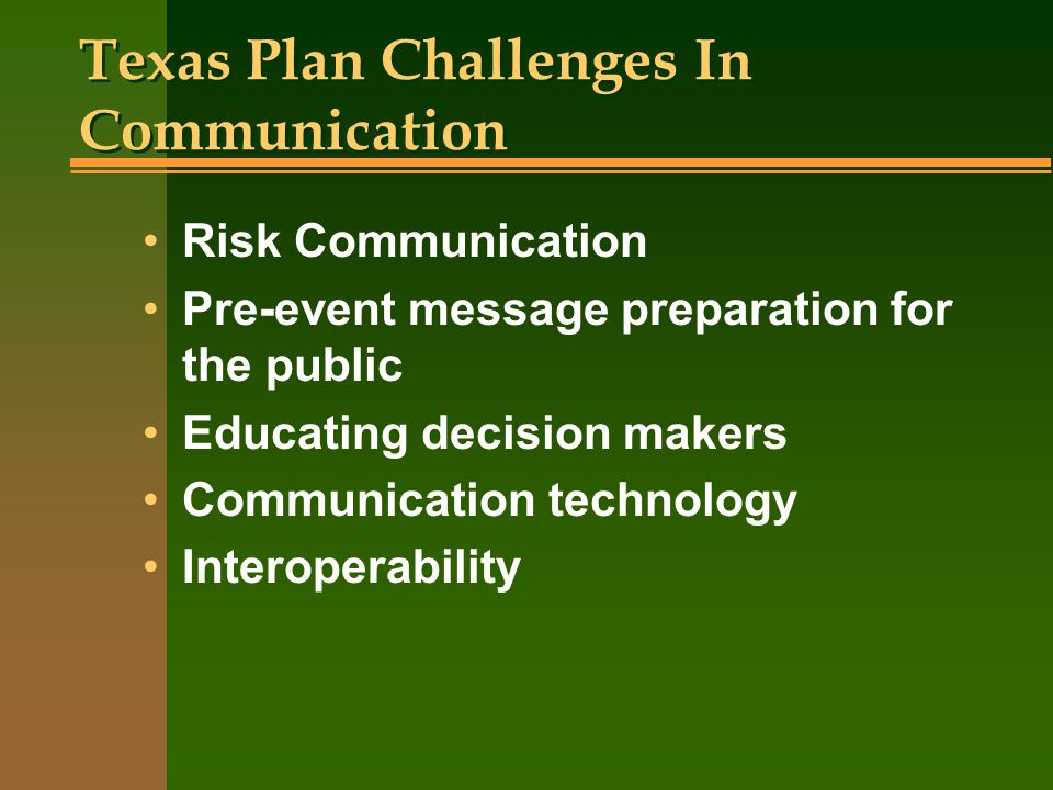 Texas Plan Challenges In Communication