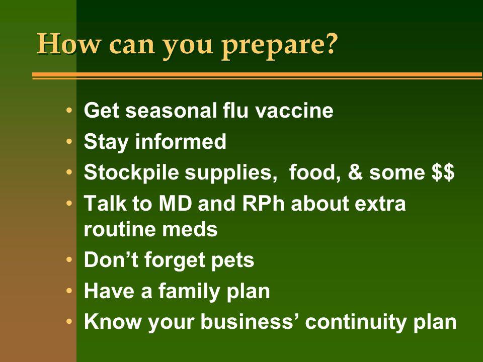 How can you prepare Get seasonal flu vaccine Stay informed