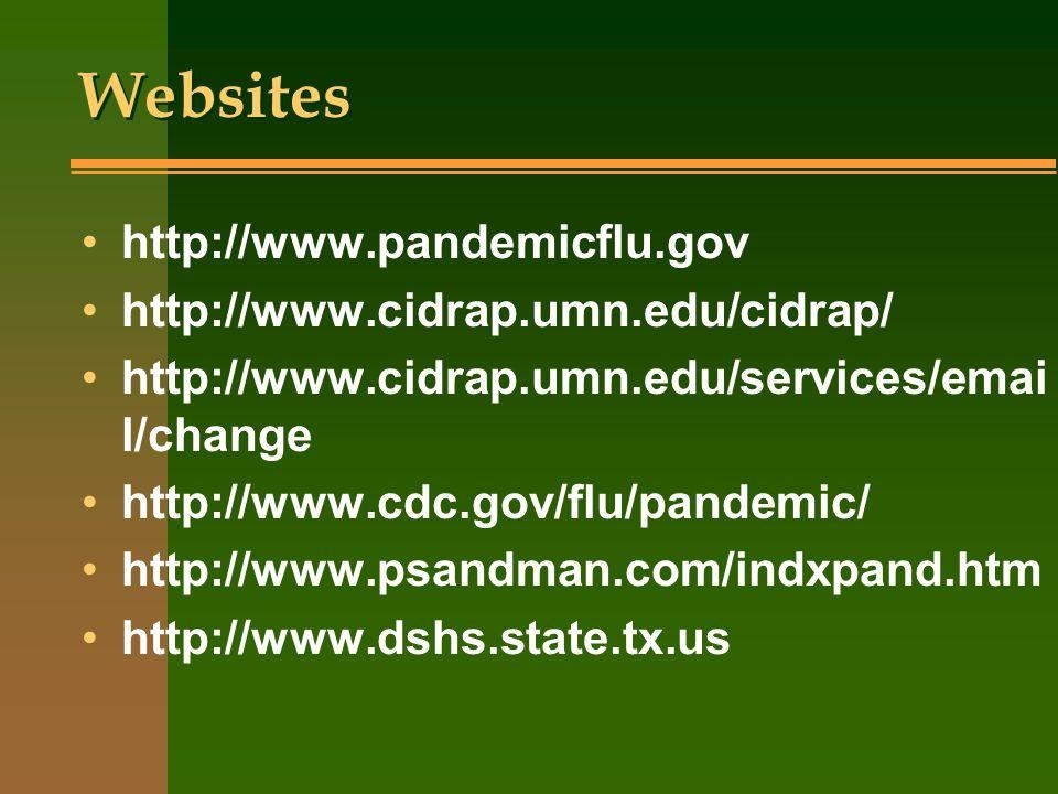 Websites http://www.pandemicflu.gov http://www.cidrap.umn.edu/cidrap/