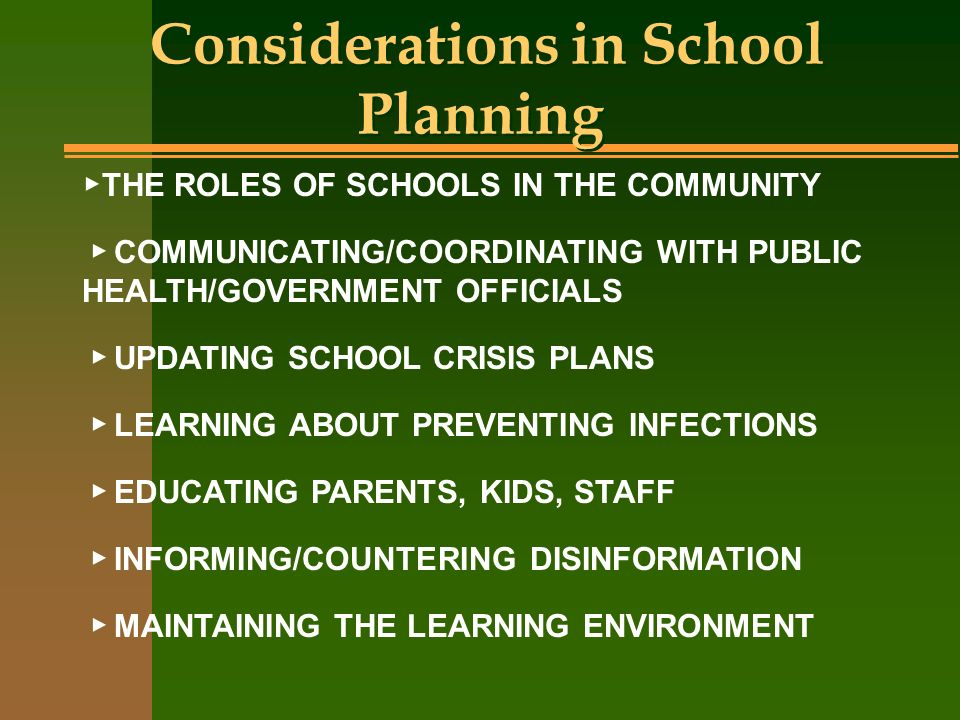 Considerations in School Planning