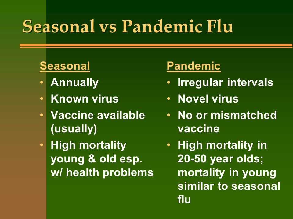 Seasonal vs Pandemic Flu