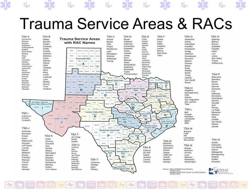 Trauma Service Areas & RACs