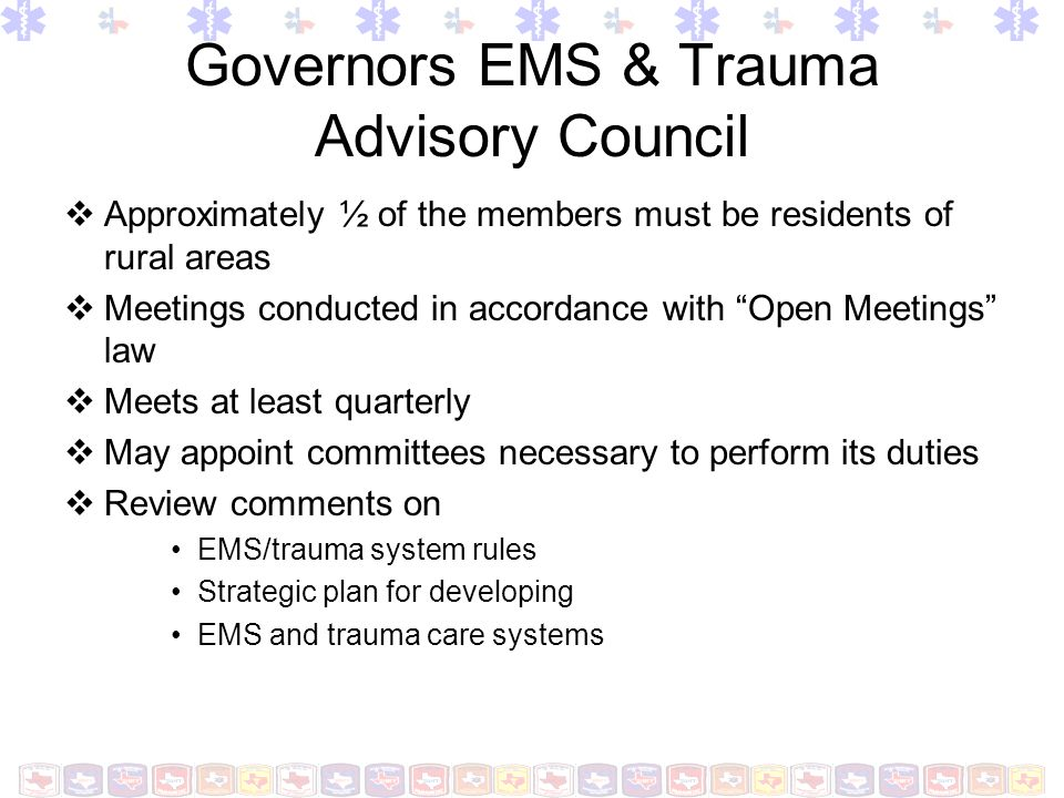 Governors EMS & Trauma Advisory Council