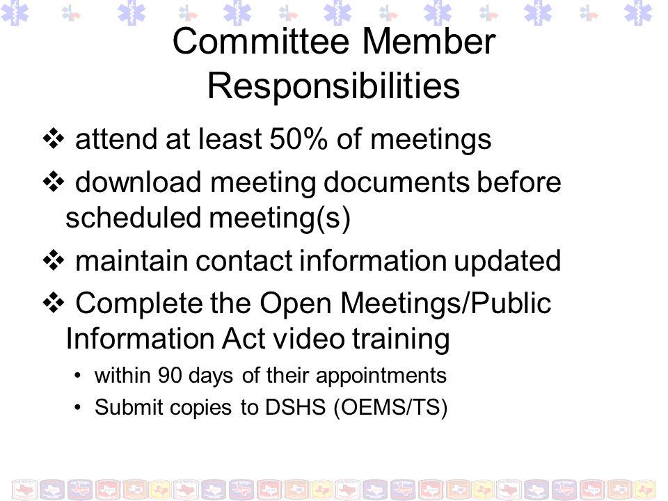 Committee Member Responsibilities