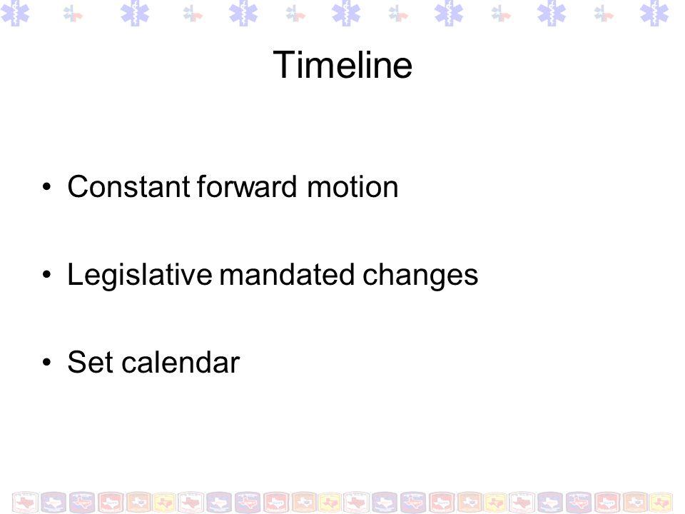 Timeline Constant forward motion Legislative mandated changes