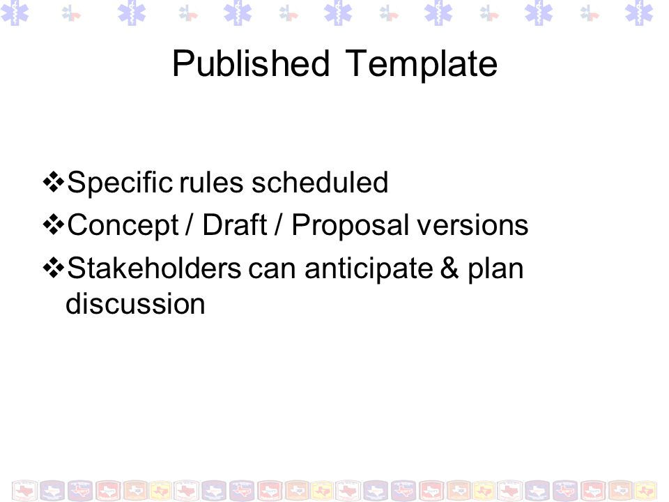 Published Template Specific rules scheduled