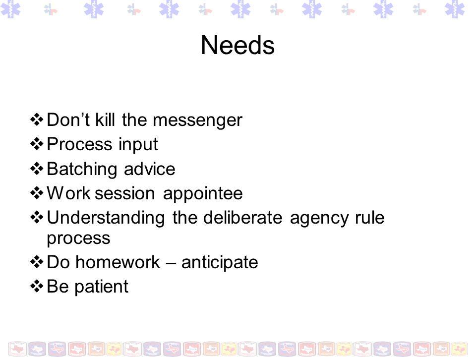 Needs Don't kill the messenger Process input Batching advice