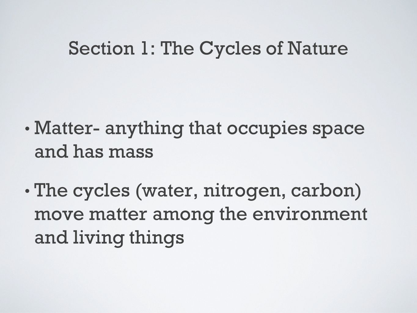 Worksheets Water Carbon And Nitrogen Cycle Worksheet environment chapter 2 cycles in nature ppt download section 1 the of nature