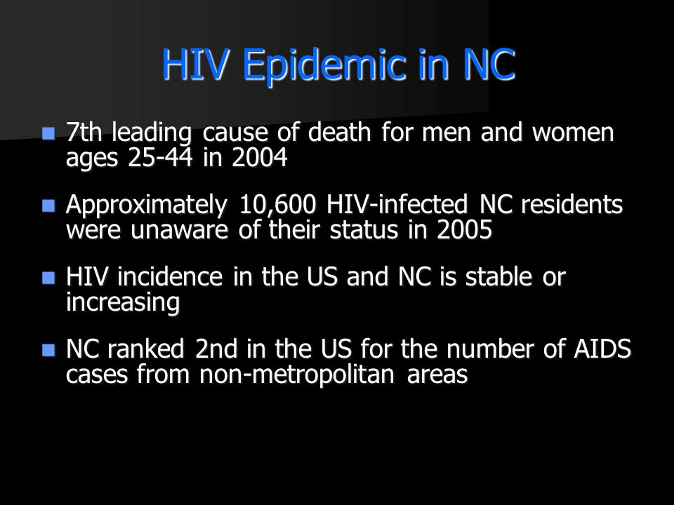 HIV Epidemic in NC 7th leading cause of death for men and women ages 25-44 in 2004.