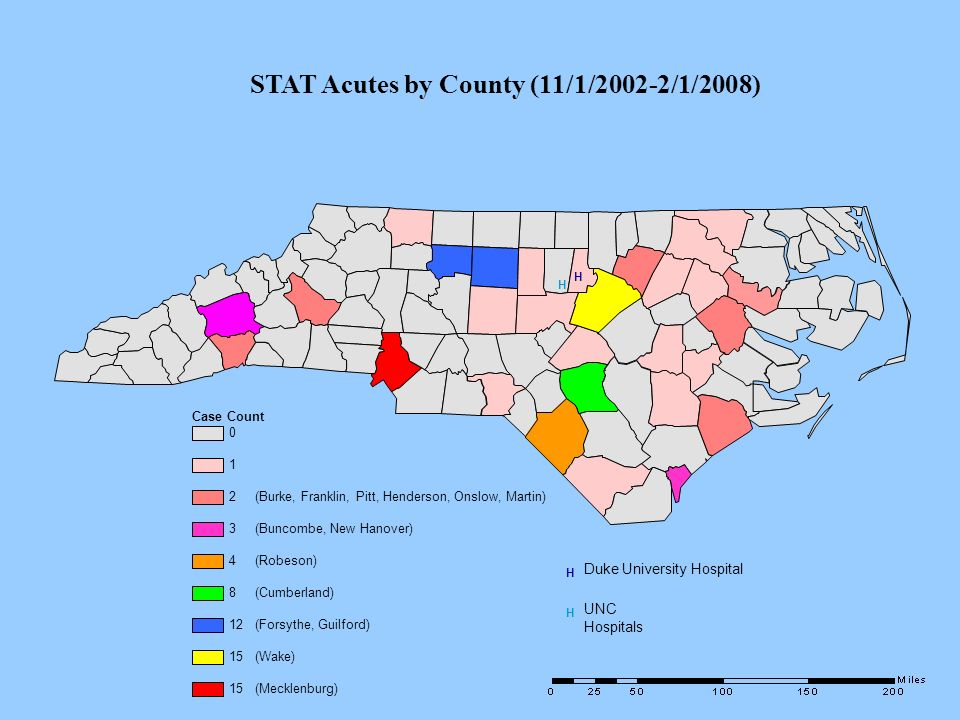 STAT Acutes by County (11/1/2002-2/1/2008)