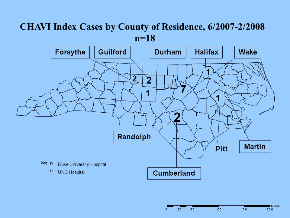 2 7 CHAVI Index Cases by County of Residence, 6/2007-2/2008 n=18 2 1 2