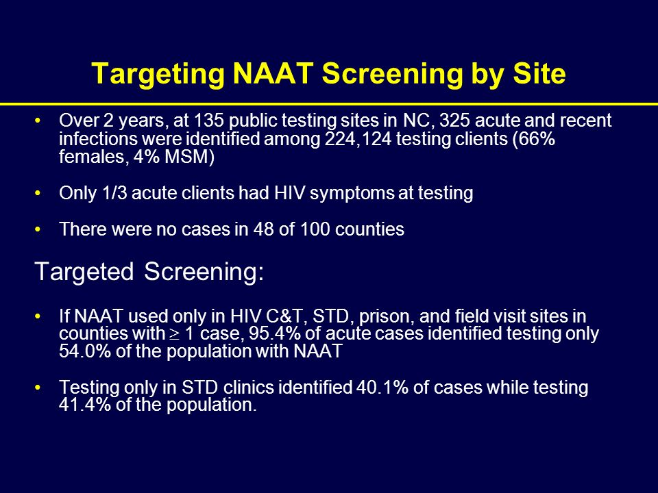 Targeting NAAT Screening by Site