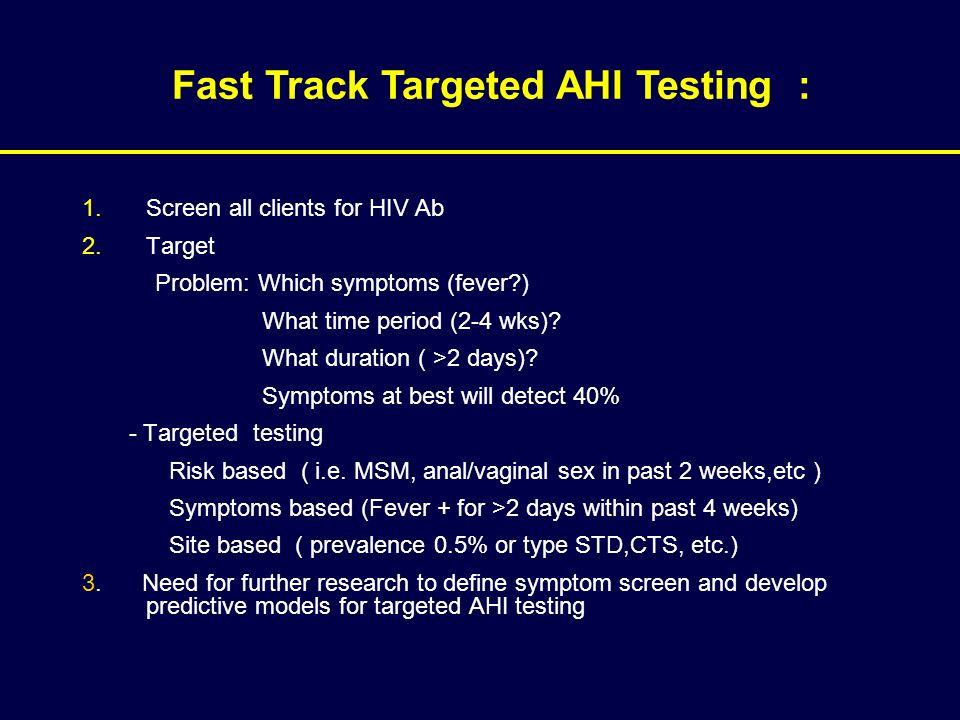 Fast Track Targeted AHI Testing :