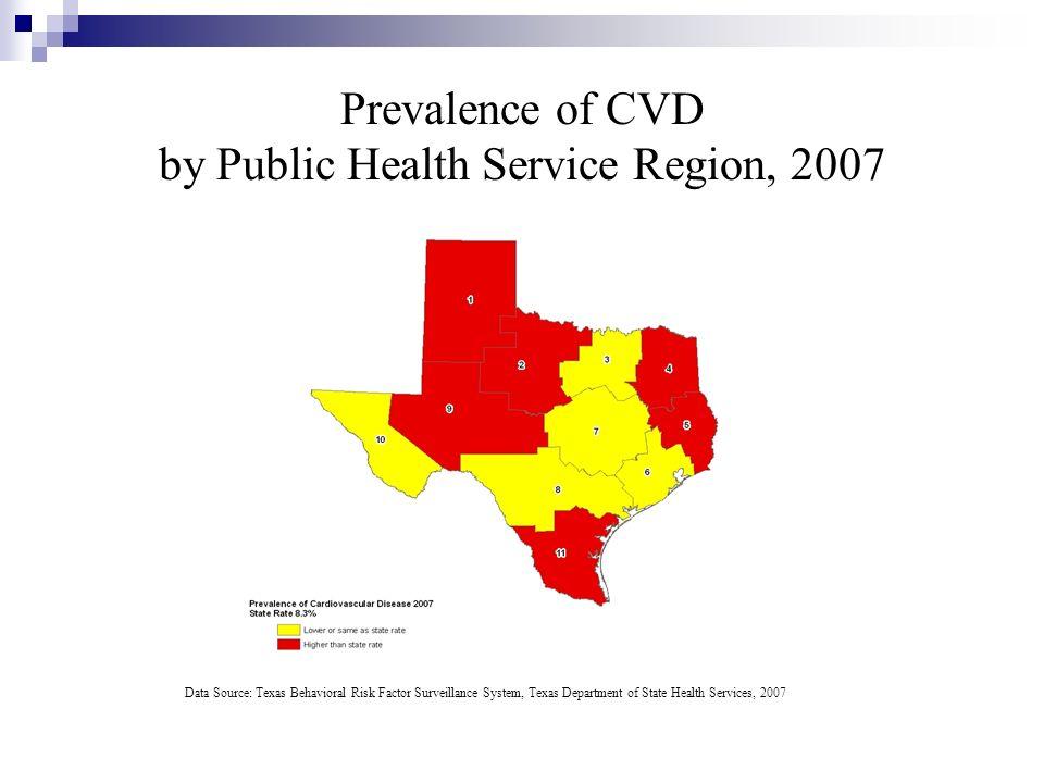 Prevalence of CVD by Public Health Service Region, 2007