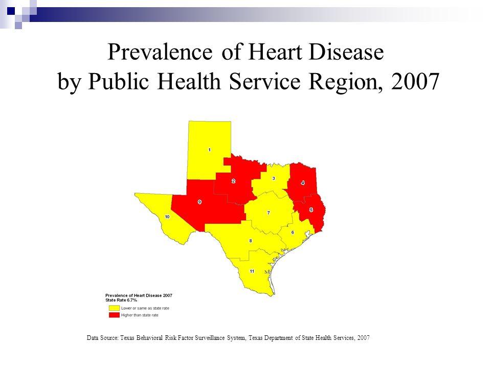 Prevalence of Heart Disease by Public Health Service Region, 2007