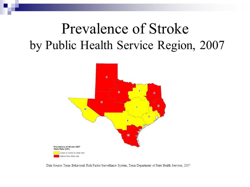 Prevalence of Stroke by Public Health Service Region, 2007