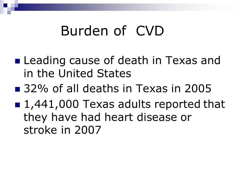Burden of CVD Leading cause of death in Texas and in the United States