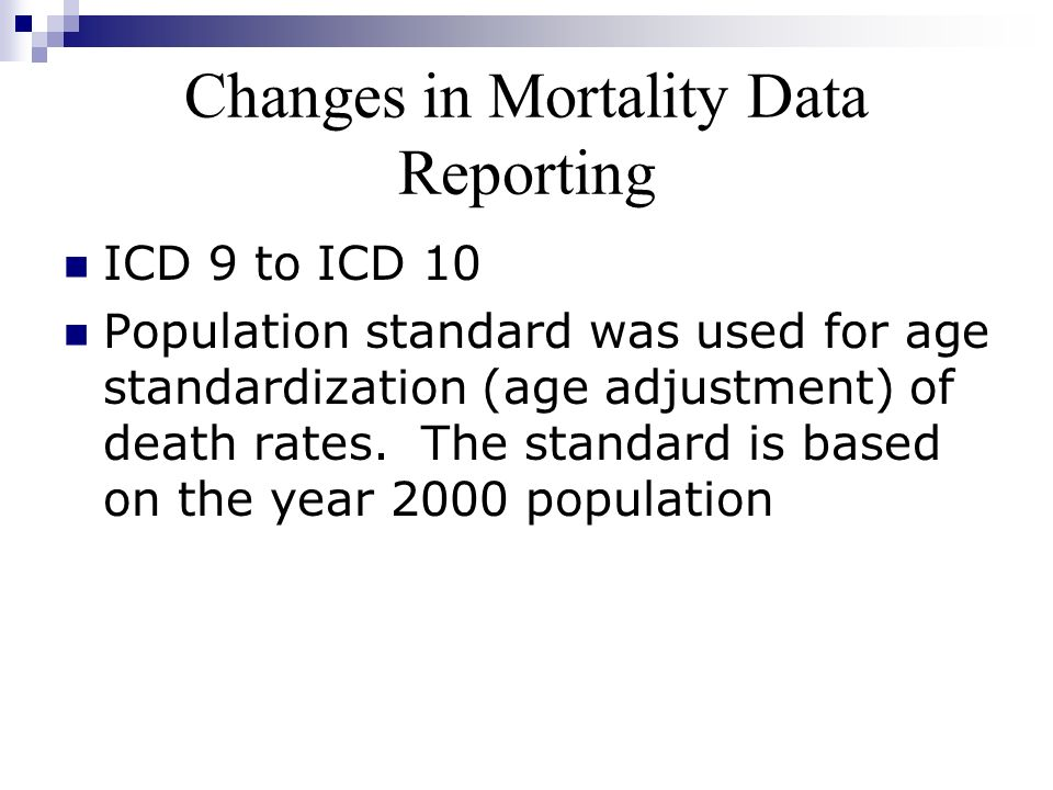 Changes in Mortality Data Reporting