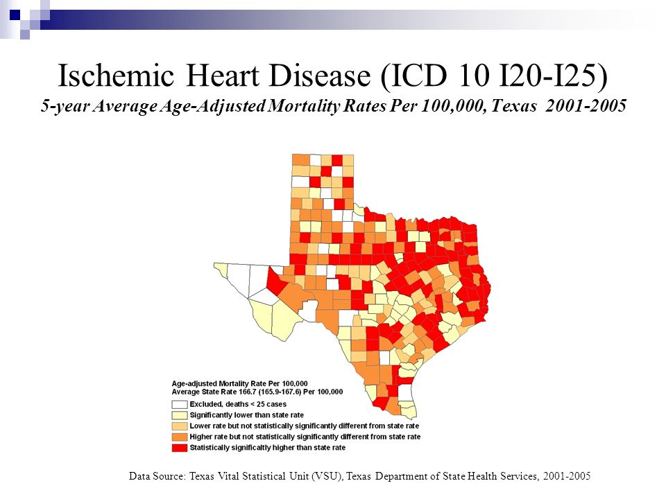 Ischemic Heart Disease (ICD 10 I20-I25) 5-year Average Age-Adjusted Mortality Rates Per 100,000, Texas 2001-2005