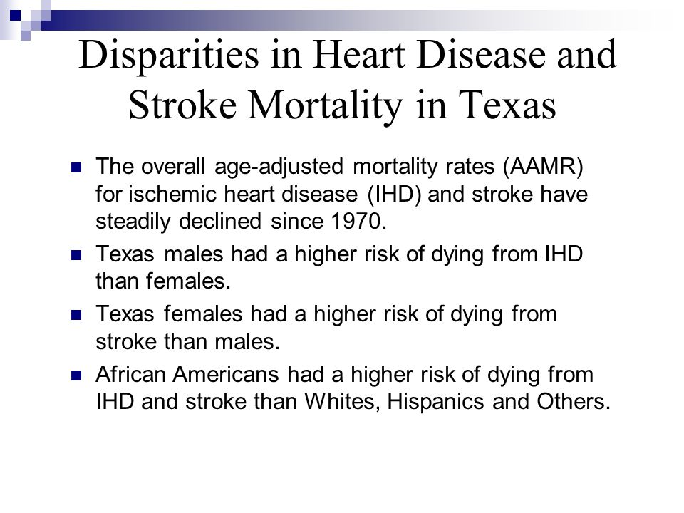 Disparities in Heart Disease and Stroke Mortality in Texas