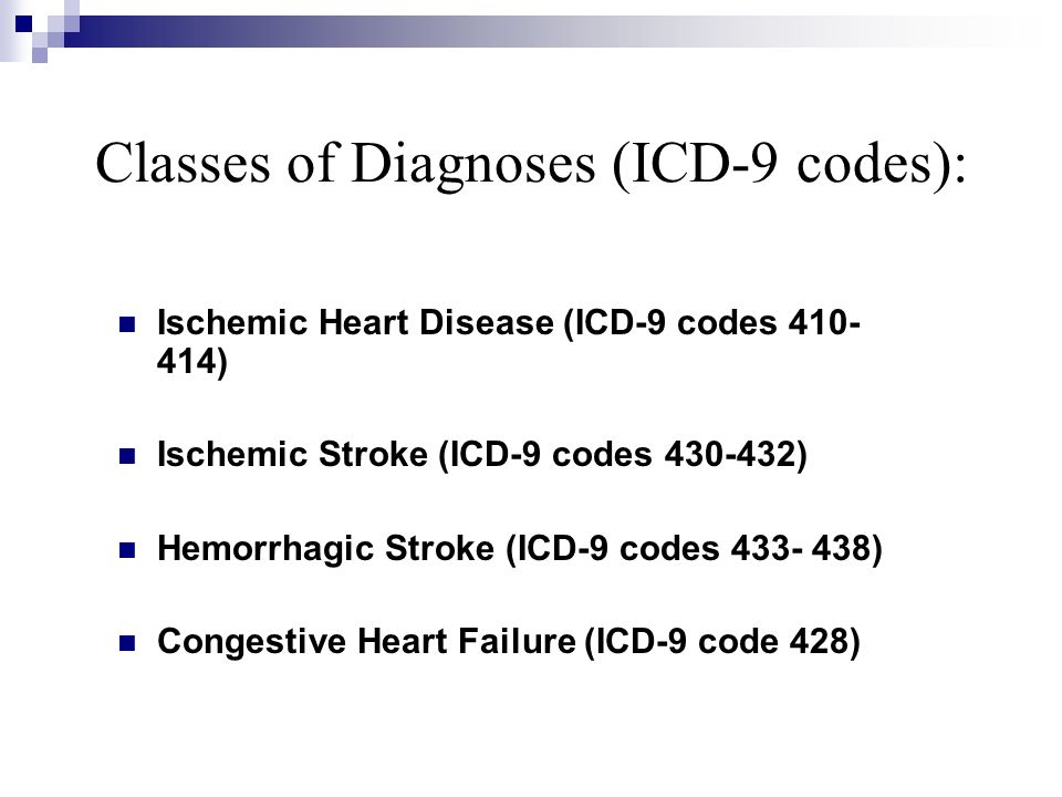 Classes of Diagnoses (ICD-9 codes):