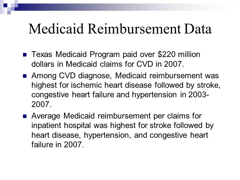 Medicaid Reimbursement Data