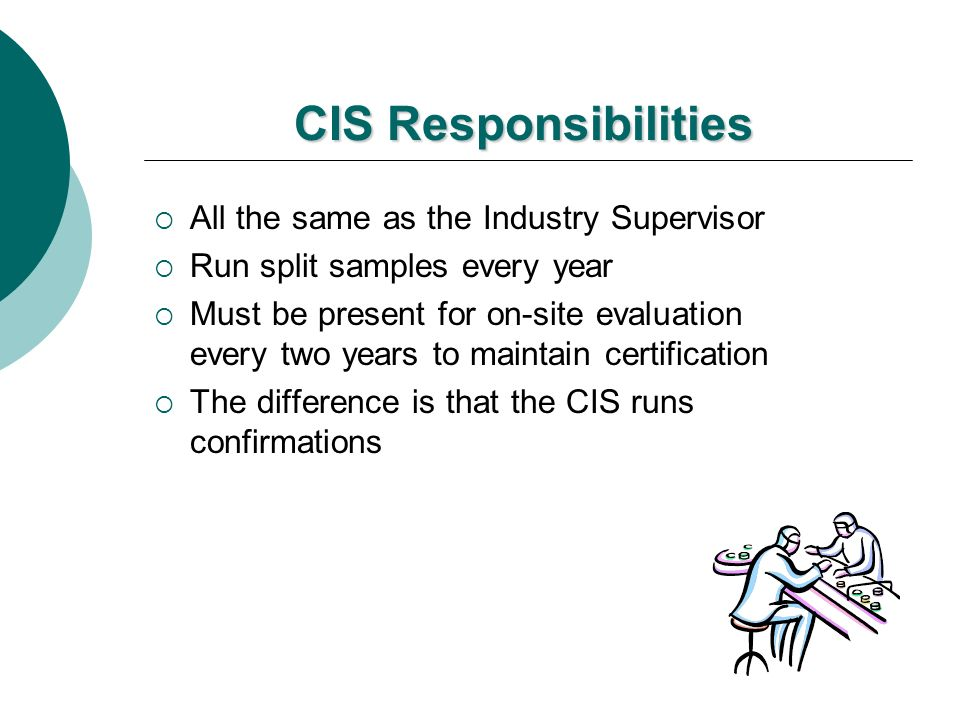 CIS Responsibilities All the same as the Industry Supervisor