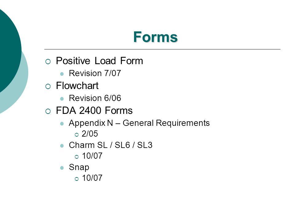 Forms Positive Load Form Flowchart FDA 2400 Forms Revision 7/07