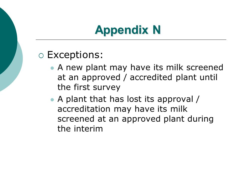 Appendix N Exceptions: