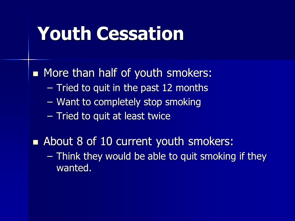 Youth Cessation More than half of youth smokers: