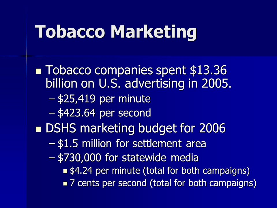 Tobacco Marketing Tobacco companies spent $13.36 billion on U.S. advertising in 2005. $25,419 per minute.