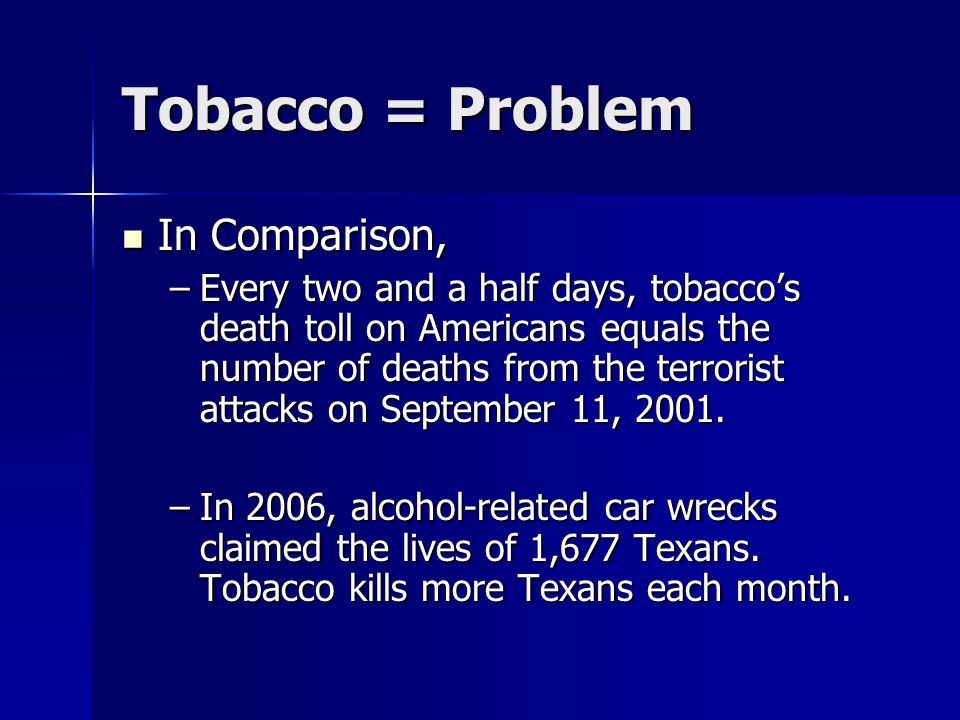 Tobacco = Problem In Comparison,