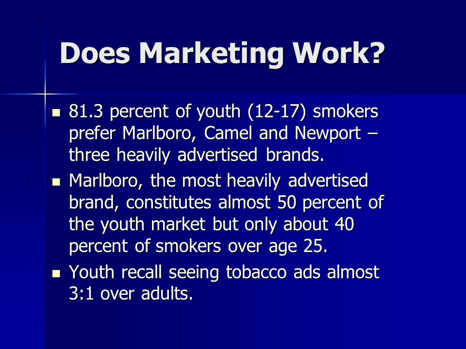 Does Marketing Work 81.3 percent of youth (12-17) smokers prefer Marlboro, Camel and Newport – three heavily advertised brands.