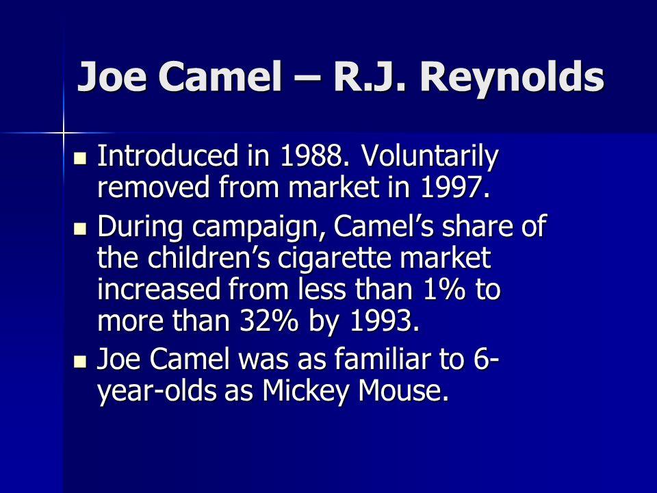 Joe Camel – R.J. ReynoldsIntroduced in 1988. Voluntarily removed from market in 1997.