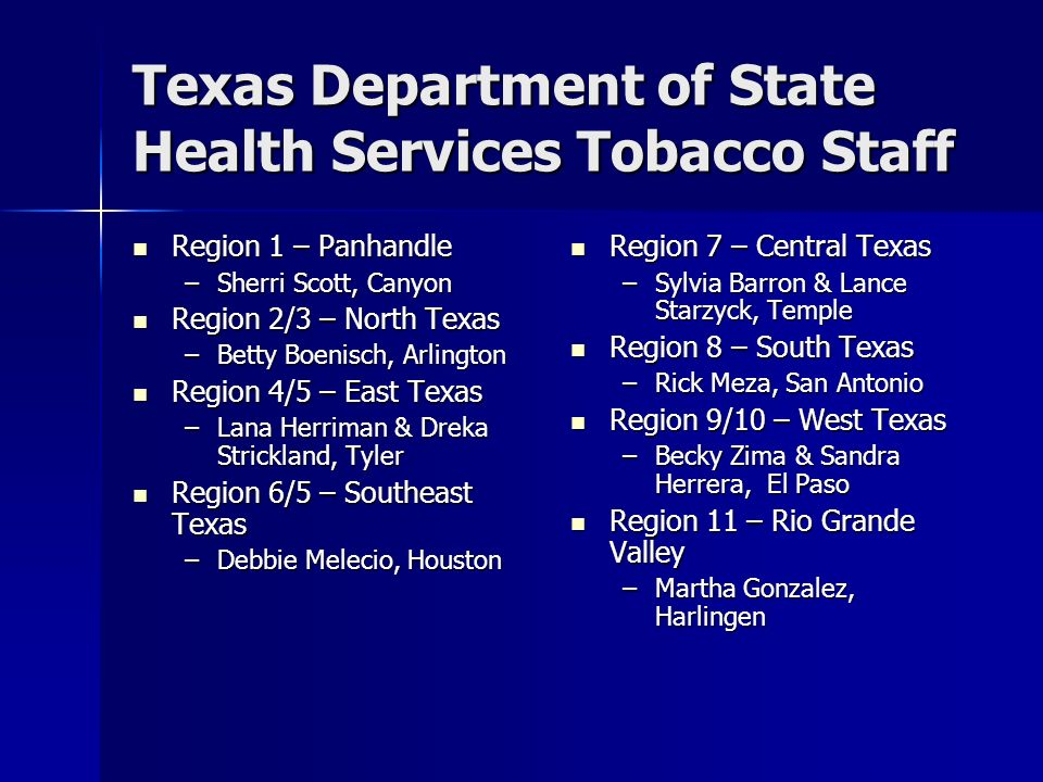 Texas Department of State Health Services Tobacco Staff