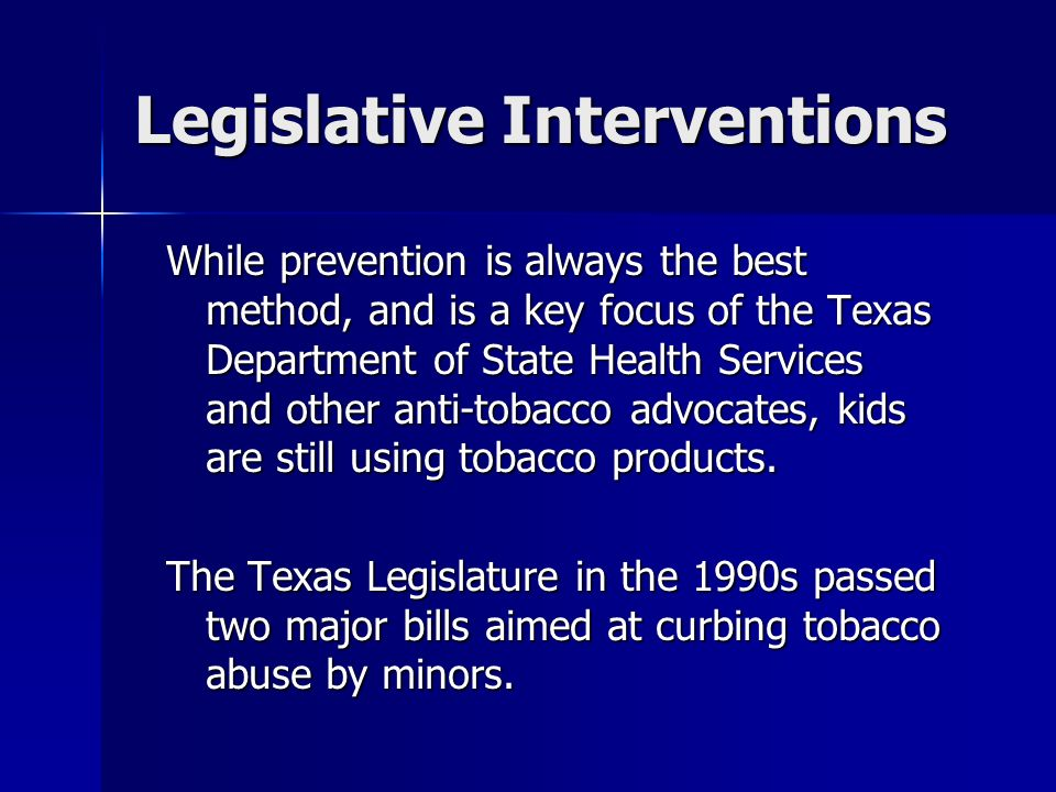 Legislative Interventions