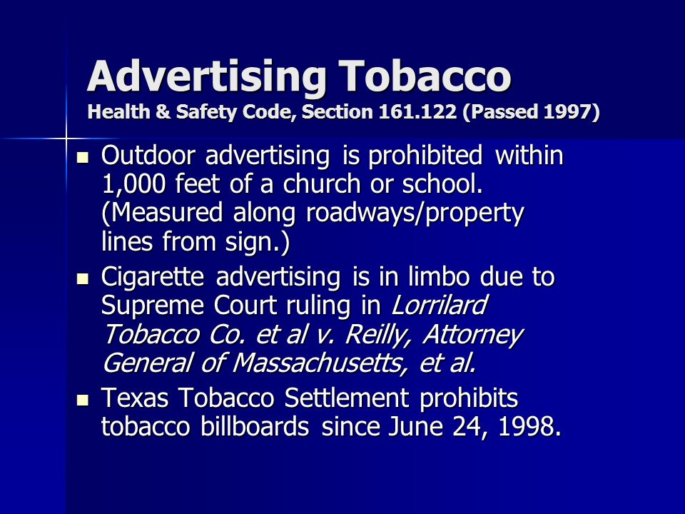 Advertising Tobacco Health & Safety Code, Section 161