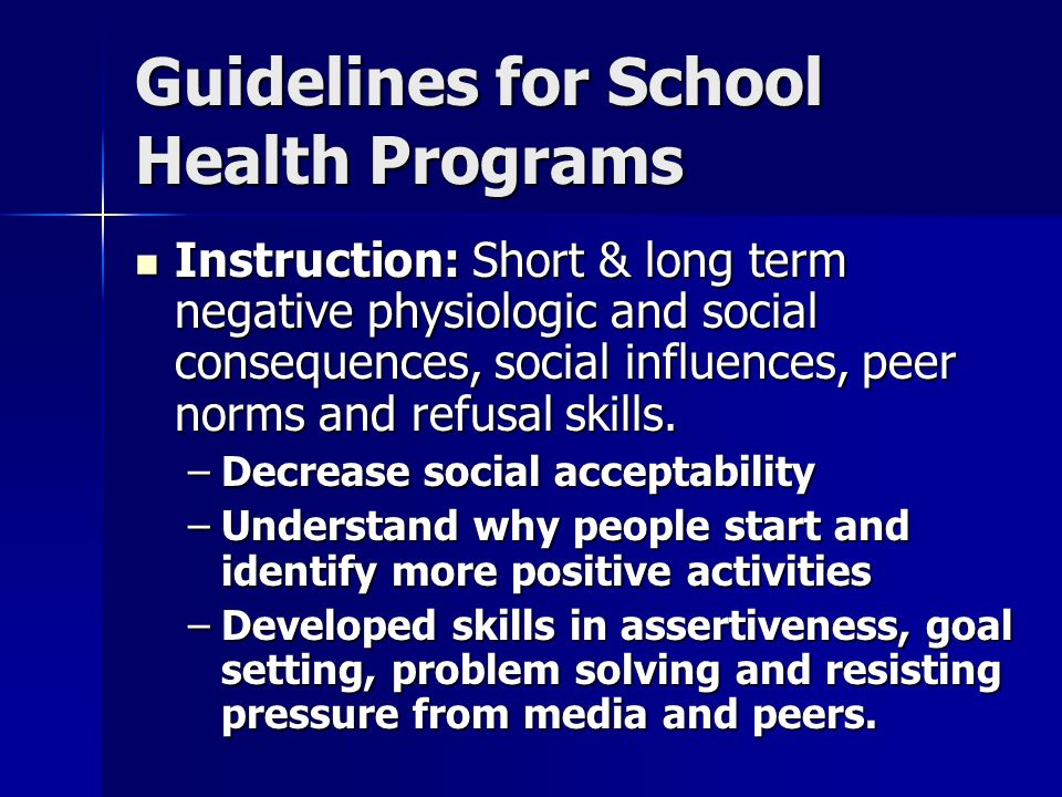 Guidelines for School Health Programs