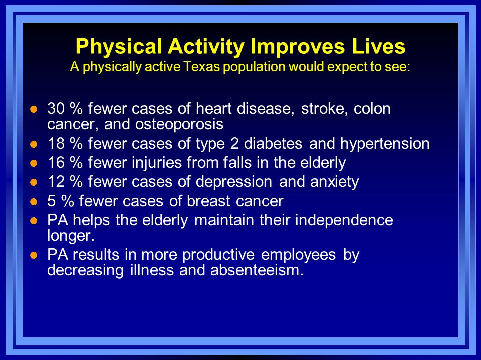 Physical Activity Improves Lives A physically active Texas population would expect to see: