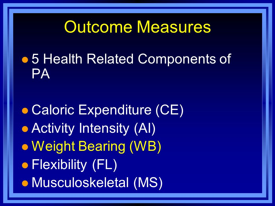 Outcome Measures 5 Health Related Components of PA