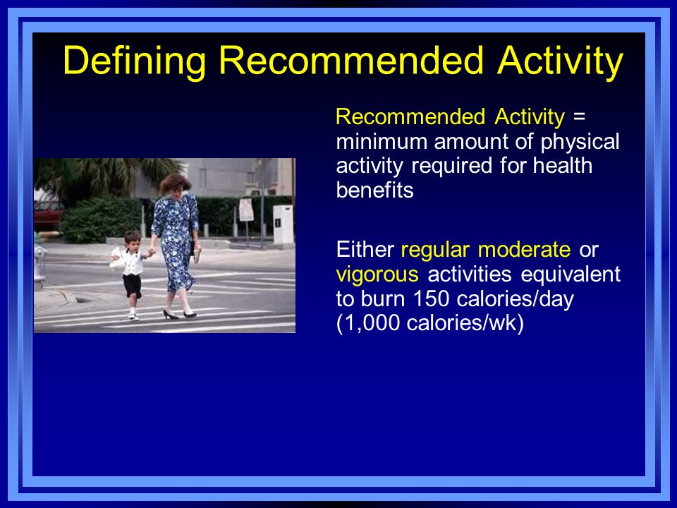 Defining Recommended Activity
