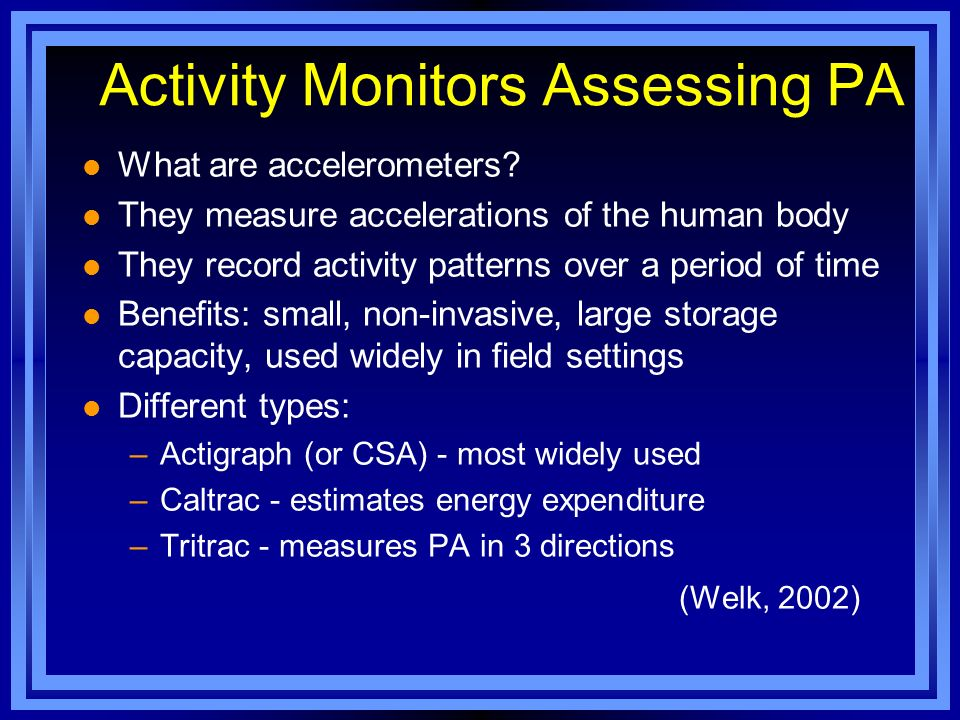 Activity Monitors Assessing PA