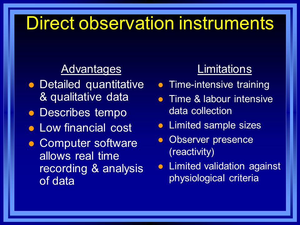 Direct observation instruments