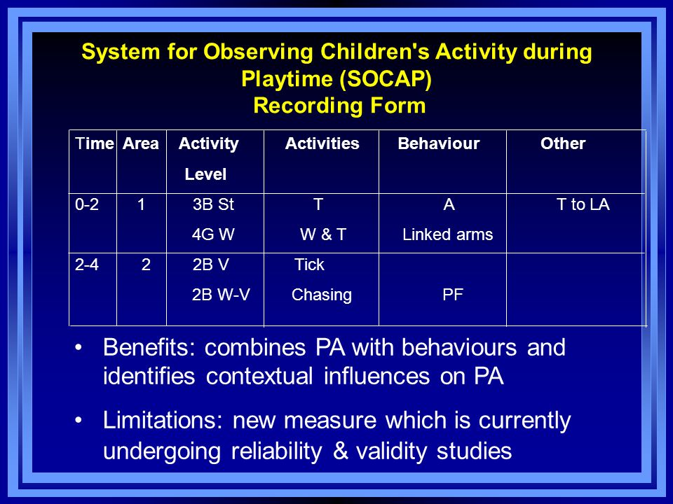 System for Observing Children s Activity during Playtime (SOCAP) Recording Form