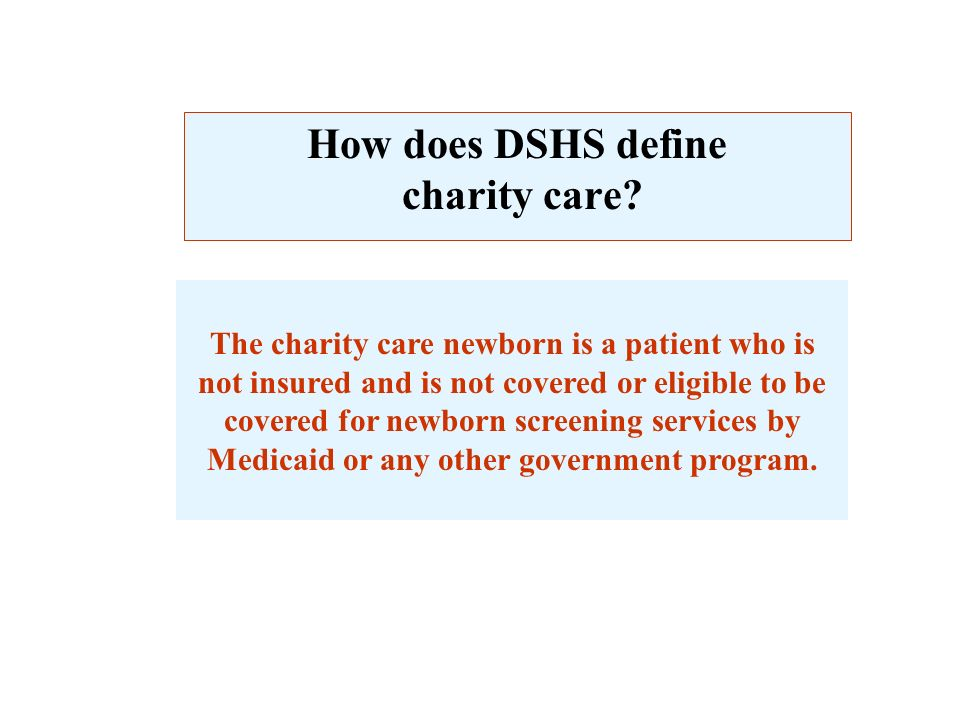 How does DSHS define charity care