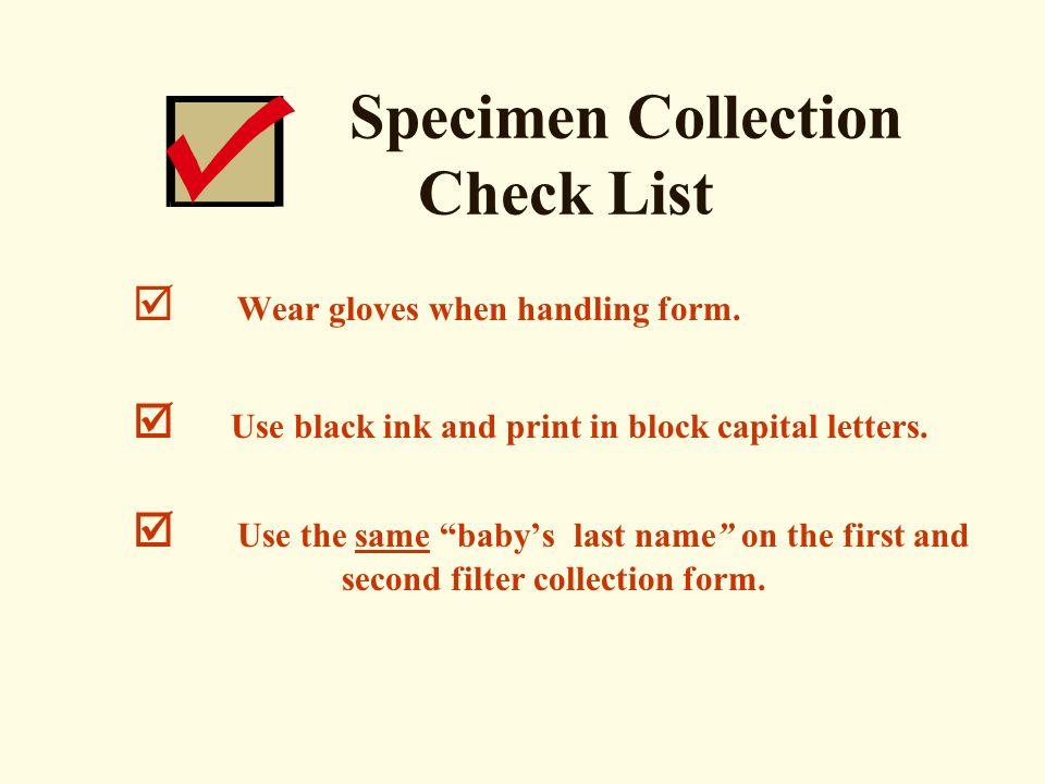 Specimen Collection Check List